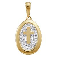 10kt Yellow Gold Womens Round Diamond Oval Cross Religious Pendant 1/10 Cttw