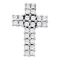14kt White Gold Womens Round Diamond Cross Pendant 1/3 Cttw