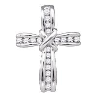 10kt White Gold Womens Round Diamond Bound Christian Cross Pendant 1/5 Cttw