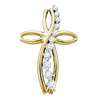 10kt Yellow Gold Womens Round Pave-set Diamond Journey Cross Religious Pendant 1/4 Cttw