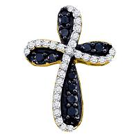 10kt Yellow Gold Womens Round Black Color Enhanced Diamond Cross Pendant 1.00 Cttw