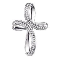 10kt White Gold Womens Round Diamond Oval Cross Pendant 1/8 Cttw