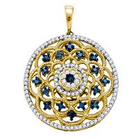 10kt Yellow Gold Womens Round Blue Color Enhanced Diamond Circle Pendant 1/2 Cttw