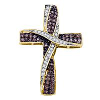 14kt Yellow Gold Womens Round Cognac-brown Color Enhanced Diamond Bound Cross Pendant 1/2 Cttw