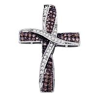 14kt White Gold Womens Round Cognac-brown Color Enhanced Diamond Cross Pendant 1/2 Cttw