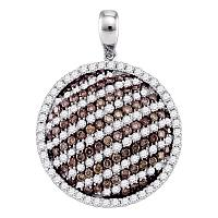10kt White Gold Womens Round Cognac-brown Color Enhanced Diamond Circle Stripe Pendant 2-1/8 Cttw