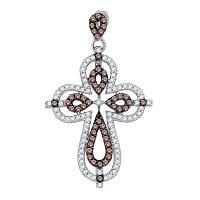 10kt White Gold Womens Round Cognac-brown Color Enhanced Diamond Cross Pendant 1/2 Cttw
