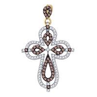 10kt Yellow Gold Womens Round Cognac-brown Color Enhanced Diamond Cross Pendant 1/2 Cttw