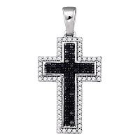10kt White Gold Womens Round Black Color Enhanced Diamond Cross Religious Pendant 1/4 Cttw
