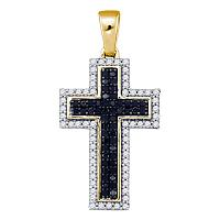 10kt Yellow Gold Womens Round Black Color Enhanced Diamond Cross Religious Pendant 1/4 Cttw