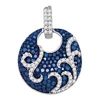 10kt White Gold Womens Round Blue Color Enhanced Diamond Curl Stripe Circle Pendant 1/2 Cttw