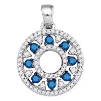 10kt White Gold Womens Round Blue Color Enhanced Diamond Circle Cutout Pendant 1/2 Cttw