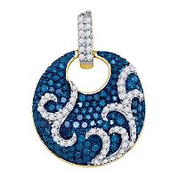 10kt Yellow Gold Womens Round Blue Color Enhanced Diamond Curl Stripe Circle Pendant 1/2 Cttw