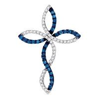 10k White Gold Blue Color Enhanced Round Diamond Christian Cross Crucifix Womens Pendant 1/3 Cttw