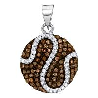 10kt White Gold Womens Round Cognac-brown Color Enhanced Diamond Circle Cluster Pendant 3/8 Cttw