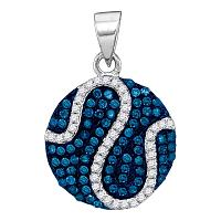 10kt White Gold Womens Round Blue Color Enhanced Diamond Circle Stripe Pendant 3/8 Cttw