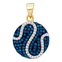 10kt Yellow Gold Womens Round Blue Color Enhanced Diamond Circle Stripe Pendant 3/8 Cttw
