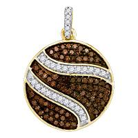 10kt Yellow Gold Womens Round Cognac-brown Color Enhanced Diamond Circle Cluster Pendant 3/4 Cttw