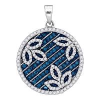 10kt White Gold Womens Round Blue Color Enhanced Diamond Circle Floral Pendant 3/4 Cttw