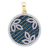 10kt Yellow Gold Womens Round Blue Color Enhanced Diamond Circle Floral Pendant 3/4 Cttw