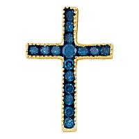 10kt Yellow Gold Womens Round Blue Color Enhanced Diamond Small Cross Pendant 1/6 Cttw