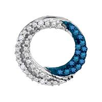 10kt White Gold Womens Round Blue Color Enhanced Diamond Circle Outline Pendant 1/6 Cttw