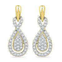 10k Yellow Gold Womens Diamond Oval-shape Dangle Screwback Earrings 1/3 Cttw