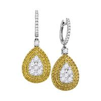 18kt White Gold Womens Round Yellow Diamond Teardrop Cluster Dangle Earrings 2-1/8 Cttw