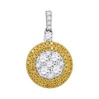 18kt White Gold Womens Round Yellow Diamond Circle Cluster Dangle Pendant 1-3/4 Cttw