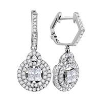 14kt White Gold Womens Princess Diamond Double Circle Frame Dangle Earrings 1.00 Cttw
