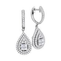 14kt White Gold Womens Princess Round Diamond Teardrop Frame Cluster Earrings 1-1/10 Cttw