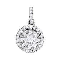 14kt White Gold Womens Round Diamond Frame Flower Cluster Pendant 7/8 Cttw