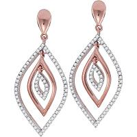 10kt Rose Gold Womens Round Diamond Nested Oval Dangle Earrings 3/8 Cttw