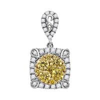 14kt White Gold Womens Round Canary Yellow Diamond Square Cluster Pendant 3/4 Cttw