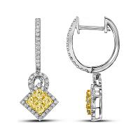 14kt White Gold Womens Round Yellow Diamond Diagonal Square Dangle Cluster Earrings 1.00 Cttw