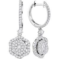 14kt White Gold Womens Round Diamond Hexagon Frame Cluster Dangle Earrings 1.00 Cttw
