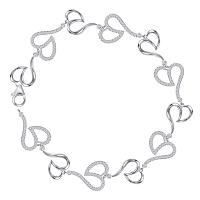 10kt White Gold Womens Round Diamond Heart Bracelet 7/8 Cttw