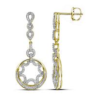 10kt Yellow Gold Womens Round Diamond Starburst Circle Dangle Screwback Earrings 1/2 Cttw