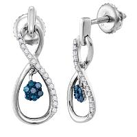 Sterling Silver Womens Round Blue Color Enhanced Diamond Infinity Dangle Earrings 1/4 Cttw