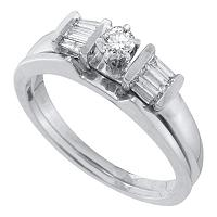 14kt White Gold Womens Round Diamond Bridal Wedding Engagement Ring Band Set 1/4 Cttw