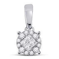 14kt White Gold Womens Princess Round Diamond Soleil Cluster Pendant 1/6 Cttw