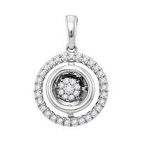 10kt White Gold Womens Round Diamond Twinkle Moving Cluster Pendant 1/4 Cttw
