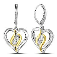 Sterling Silver Womens Round Diamond Heart Leverback Dangle Earrings 1/20 Cttw