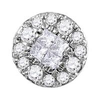 14kt White Gold Womens Princess Round Diamond Soleil Cluster Pendant 1/4 Cttw