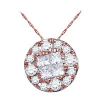 14kt Rose Gold Womens Princess Round Diamond Soleil Cluster Pendant 1/4 Cttw