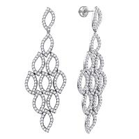 14kt White Gold Womens Round Diamond Luxury Dangle Screwback Earrings 4-3/4 Cttw