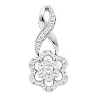 14kt White Gold Womens Round Diamond Twist Flower Cluster Pendant 1/2 Cttw