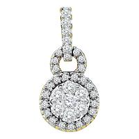 14kt Yellow Gold Womens Round Diamond Circle Frame Flower Cluster Pendant 1/2 Cttw