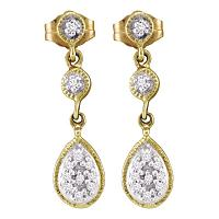 10kt Yellow Gold Womens Round Diamond Teardrop Cluster Dangle Earrings 1/8 Cttw