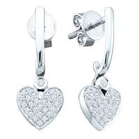 10kt White Gold Womens Round Diamond Dangle Heart Screwback Earrings 1/4 Cttw